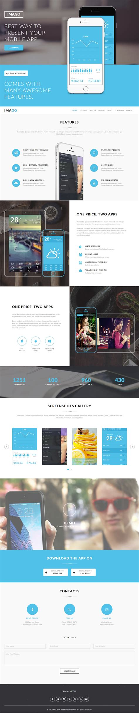 mobile landing page templates 5 best muse mobile app landing page template 2017