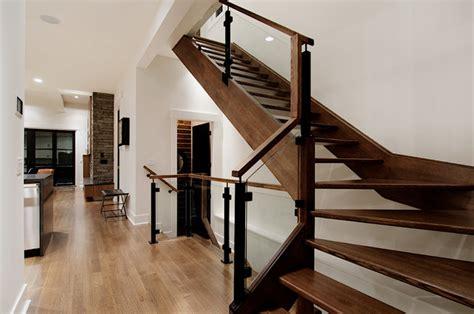 custom railing in modern inner city home contemporary staircase calgary by veranda