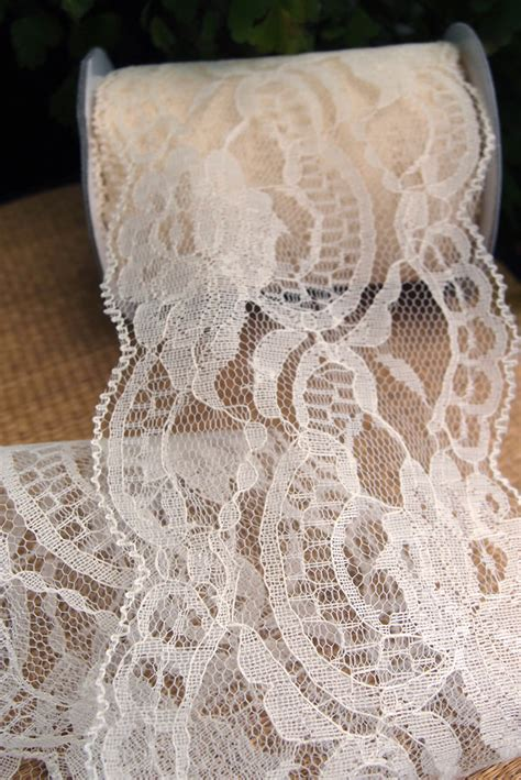 Ribbon Lace ivory lace ribbon 4 quot wide x 10 yards