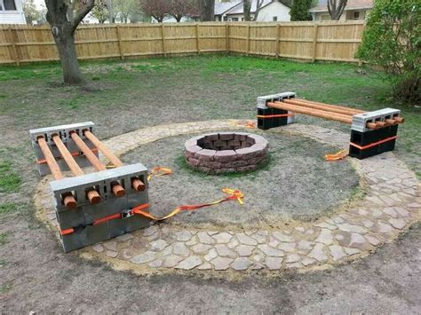 fire pit bench homemade bench and fire pit things i love pinterest