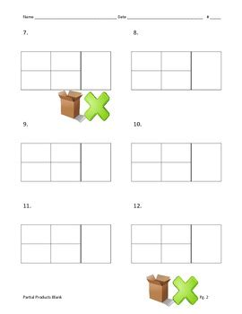 Multiplication Boxes Worksheets by Partial Products Blank Box Multiplication 2 Digit By 2