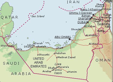 uae road map map of united arab emirates