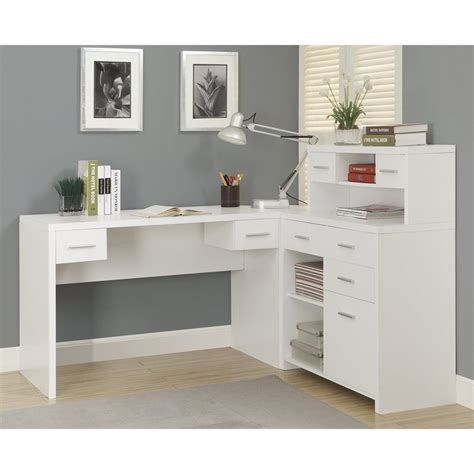 monarch specialties l shaped computer desk shop monarch specialties contemporary white l shaped desk