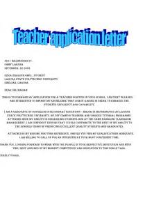 letter of application for teaching sle templates