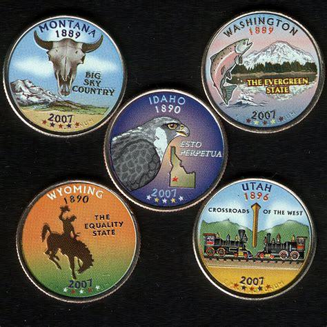 colored quarters usa state quarter set 2007 5 x 1 4 dollar colored