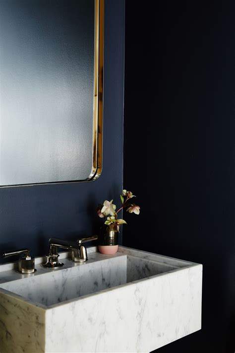 dark blue bathrooms chic dark blue powder room features a marble wall mounted