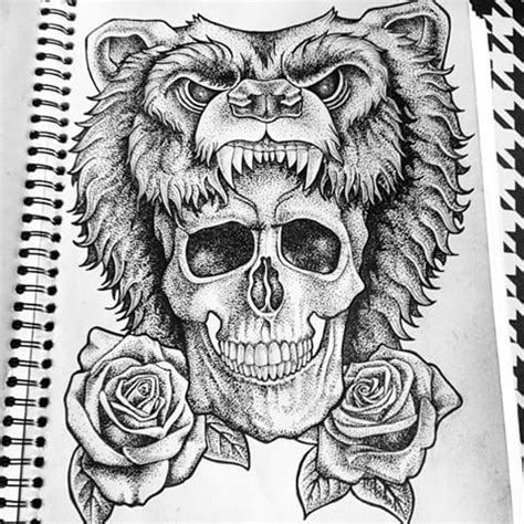 traditional dotwork bear with skull and roses tattoo