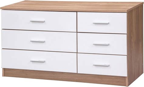oak and white gloss bedroom furniture caspian high gloss bedroom furniture 6 drawer chest of