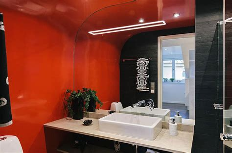 orange and black bathroom stylish modern apartment in stockholm