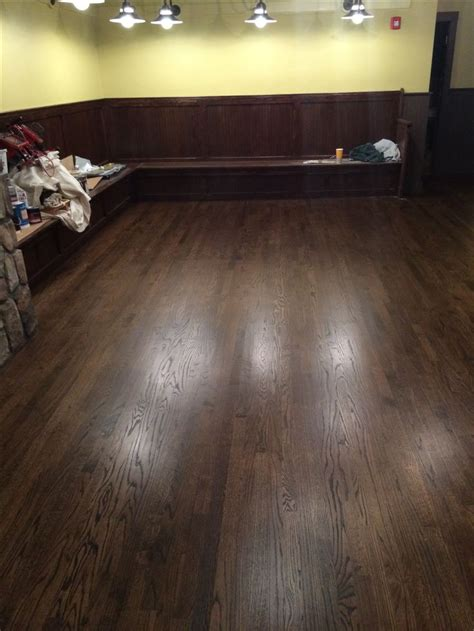 """2 1/4"""" red oak hardwood flooring, stained with Minwax Dark"""