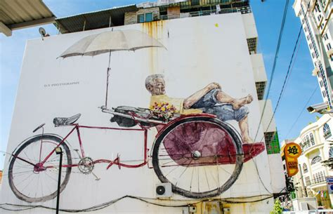 design art penang the awaiting trishaw paddler penang street art wall