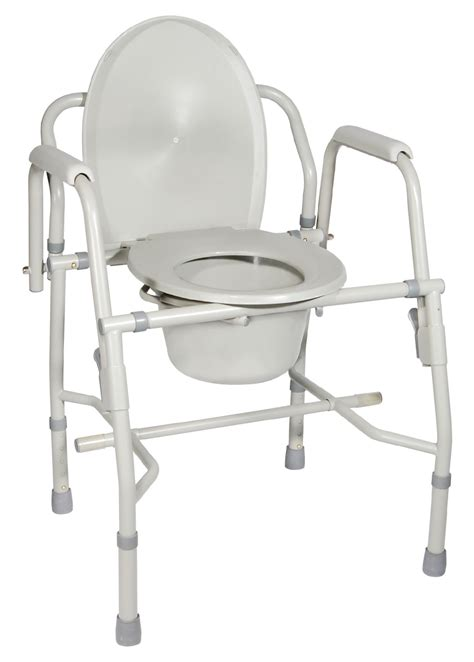 Commode Use by Steel Drop Arm Bedside Commode With Padded Arms Drive