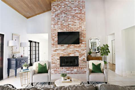 modern brick fireplace modern ranch reno how to re grout a brick fireplace
