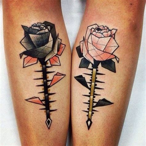 picture of geometric roses couple tattoo