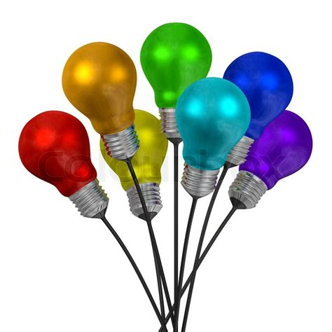 Bouquet Of Many Colored Light Bulbs On Black Wires White Or Colored Lights