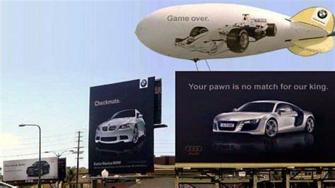 bmw commercial the historic bmw vs audi billboard ad war in pictures