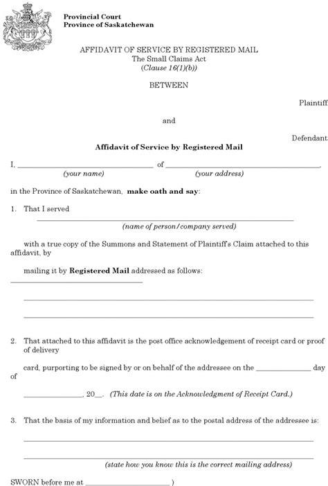b119 form saskatchewan plaintiff affidavit of service by