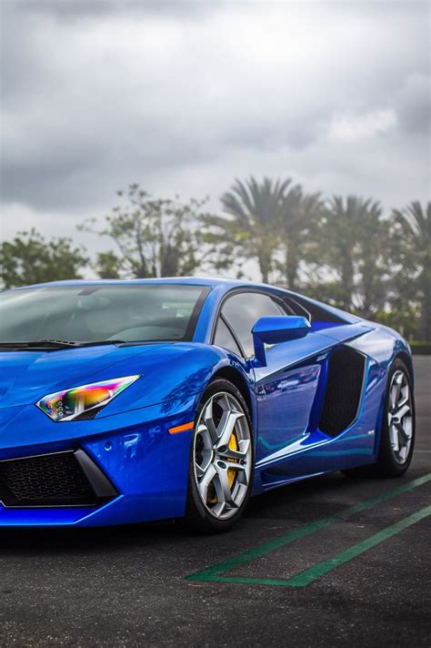 Lamborghini Aventador In Blue Lamborghini Aventador In Bright Blue Cars