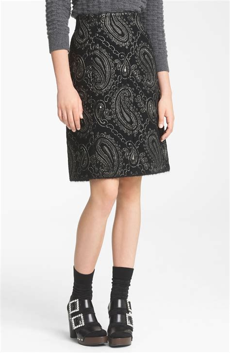 marc metallic paisley jacquard pencil skirt in