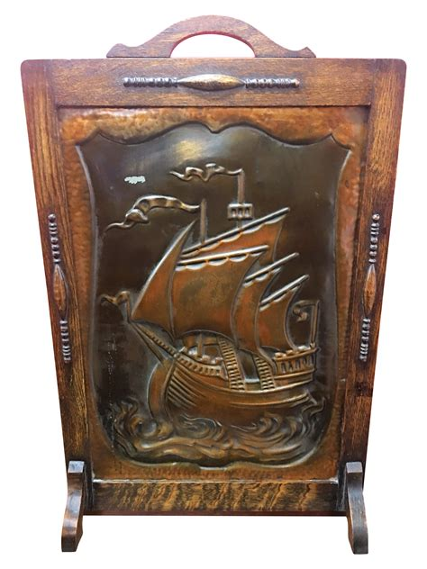 Copper Fireplace Screen Antique Embossed Copper Nautical Fireplace Screen Chairish