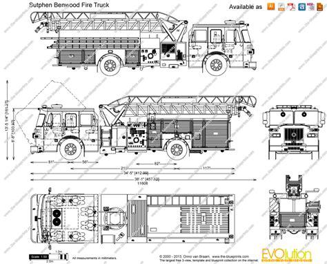 sutphen benwood fire truck vector drawing