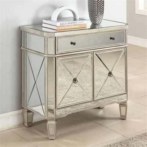 Small Mirrored Desk Small And Narrow Mirrored Console Table With Door And Drawer Plus Wooden Legs On