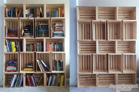 Crate Bookshelf Diy storage made simple diy wooden crate bookshelf apartmentguide