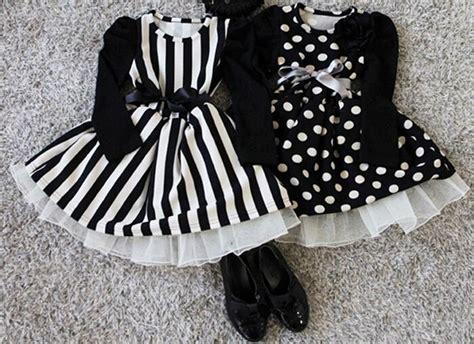 Black White Striped Flounced Half Sleeved Cotton Dress black white dress baby polka dot dress striped