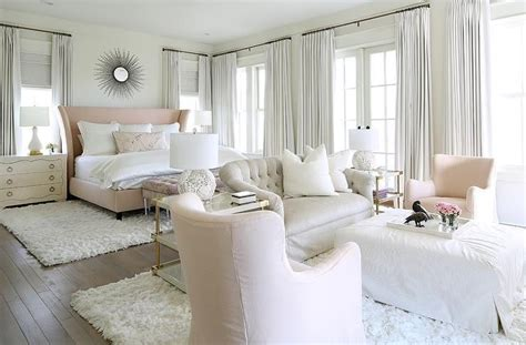 pink  gray bedroom sitting area  filled   light