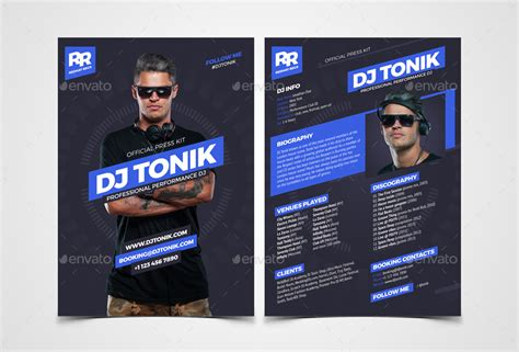 Prodj Dj Press Kit Rider Resume Psd Template By Vinyljunkie Graphicriver Free Press Kit Template Psd