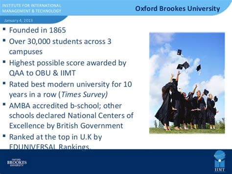 Oxford Brookes Mba Ranking by Business School Presentation Iimt Oxford Brookes