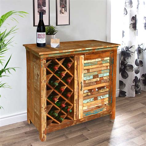 Reclaimed Wood Bar Cabinet Garrard Rustic Reclaimed Wood Single Door Bar Cabinet W Wine Storage