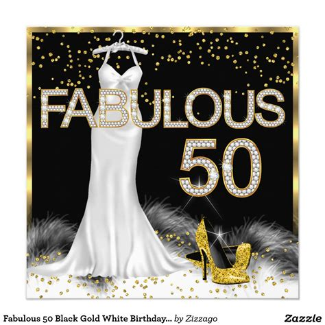 Be Fabulous 50 fabulous 50 black gold white birthday card
