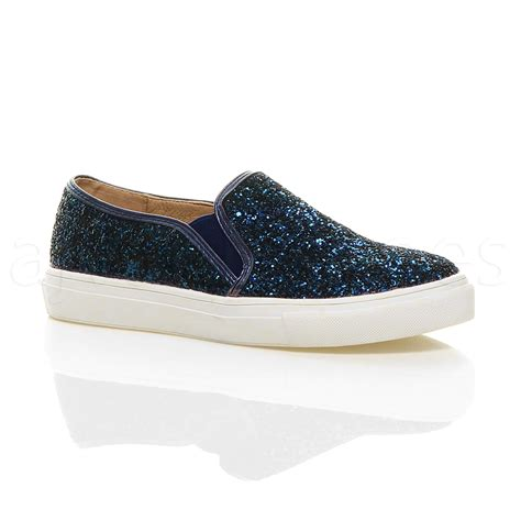 womens slip on shoes womens flat casual slip on glitter plimsolls pumps