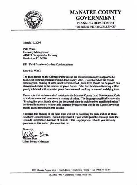 Request Letter Cutting Of Trees Third Bayshore Condominium Association