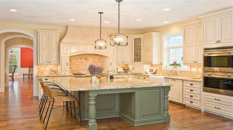 kitchens  white cabinets  gray island sage green