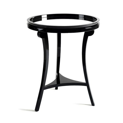 Black Side Table Mirrored Top Solid Wood Black Side Table