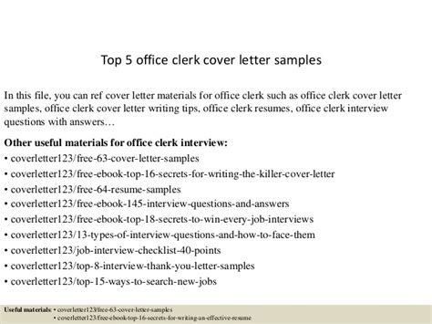 office clerk cover letter top 5 office clerk cover letter sles