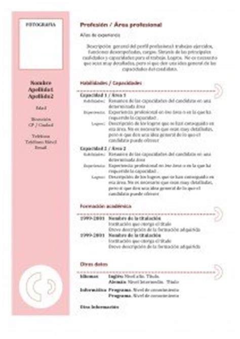 Plantillas De Curriculum Bã Sico Experiencia Para Rellenar Cv Funcional Modelos Y Plantillas Modelo Curriculum