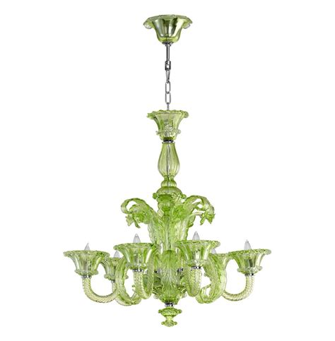 Green Chandelier La Scala 30 Inch Pale Green Murano Glass Style 6 Light