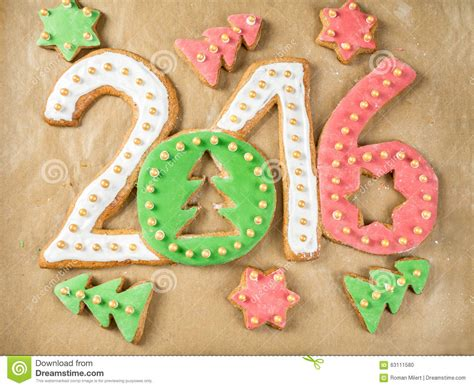new year shaped cookies 2016 new year cookies stock photo image 63111580