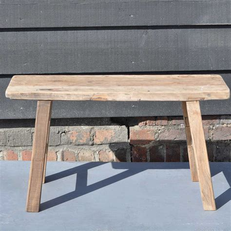 small rustic bench reclaimed small rustic trestle bench in solid elm home