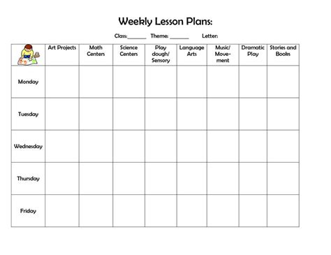 printable preschool lesson plan template infant blank lesson plan sheets weekly lesson plan doc