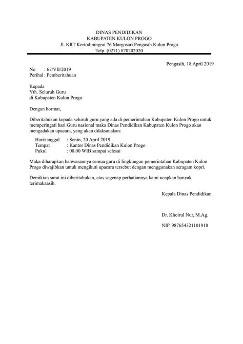 contoh surat dinas berbagai keperluan