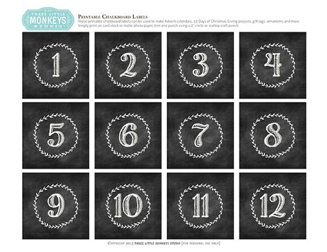 printable numbers 1 12 search results for christmas numbers for calendars