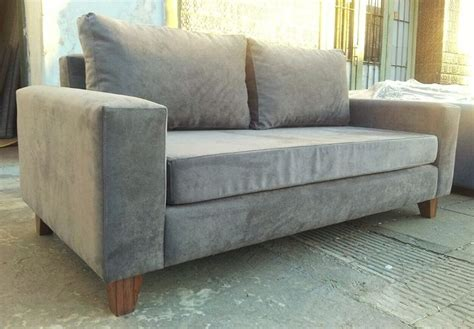 sillon futon 3 cuerpos sof 225 cubo 200x90 tapizado en panne gris con asiento de