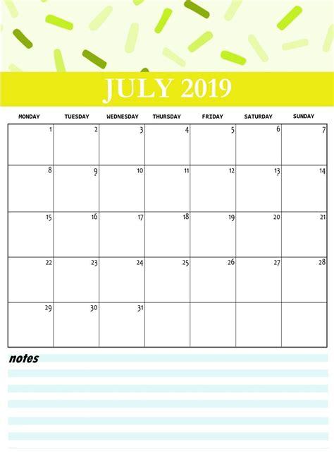 cute july  calendar printable template