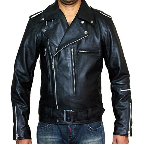 mens black leather motorcycle jacket terminator 2 black brando motorcycle s rider leather