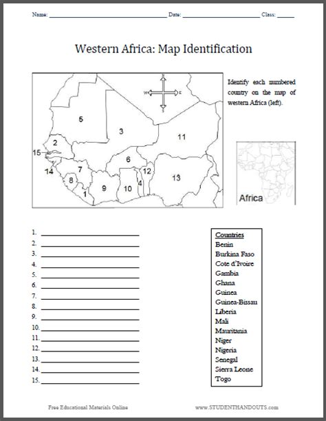 Western Africa Map Worksheet Student Handouts