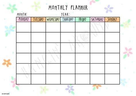 Monthly Calendar Planner Monthly Planner Floral Printable Hangin Around